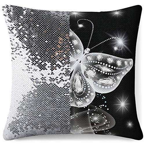 Sequin Pillow Cover Decorative Mermaid Throw Cushion Cases Diamond Butterfly Painting Personalized Magic Pillowcases Gag Gift (16 in x 16 in) 40 cm x 40 cm