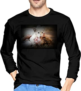 WenZo Mia and The White Lion Fashion Men's Long Sleeve T-Shirts Black S