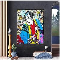 アールデコポップアートキャンバス絵画ストリートグラフィティ日本のポートレートポスターアートプリント壁の画像リビングルームの装飾家-70x120cm1pcsフレームなし