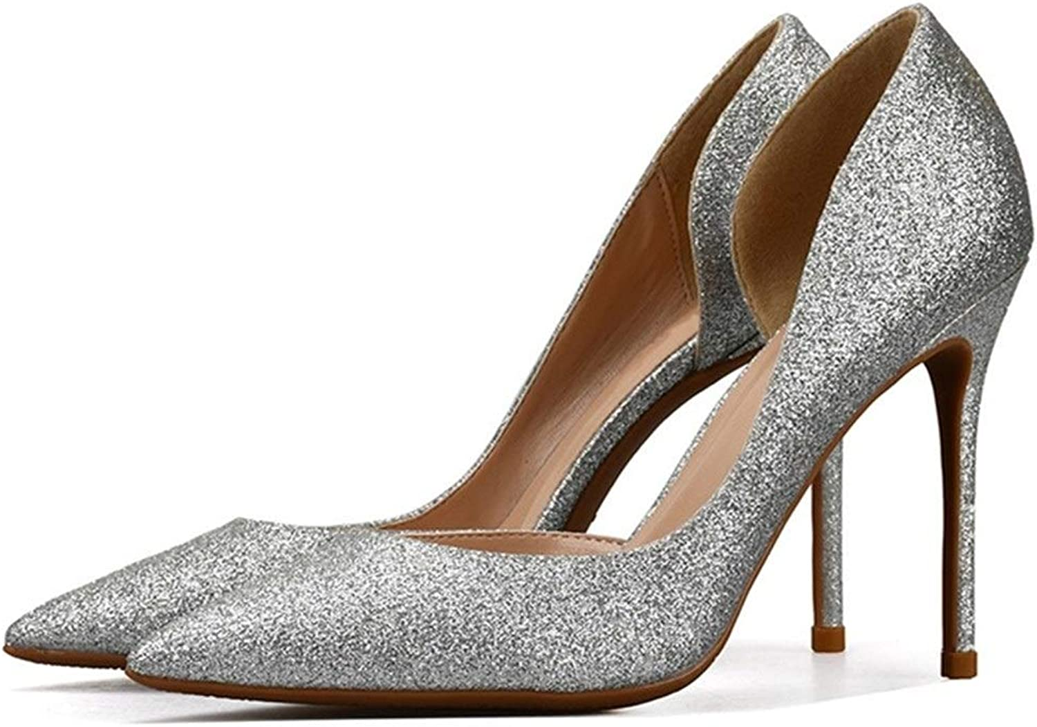 ZerenQ D'Orsay Pumps for Women High Stiletto Heels Glitter Pointed Sandasl for Ladies Side Cut Durable (color   Silver 8 cm Heel, Size   8.5 M US)
