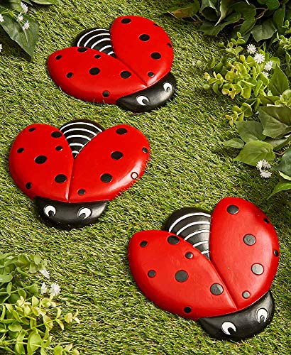 The Lakeside Collection Ladybug Stepping Stones for Gardens and Outdoor Flower Beds - Set of 3
