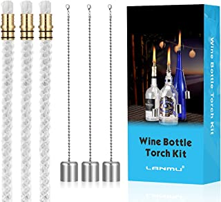 LANMU Wine Bottle Tiki WicksOil LampsTabletop TorchPatio TorchTable Top Torch Lantern Kit for Spring Summer Nights/Outdoor...