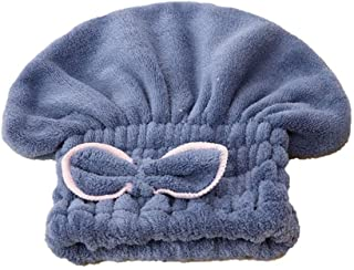 AUWU Microfiber Hair Drying Towel Head Wrap with Bow-Knot Shower Cap Hair Turban Hair Wrap Bath Cap