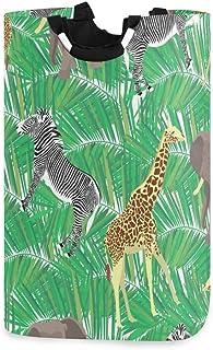 Mnsruu Panier à linge pliable avec poignées Motif éléphant zèbre et girafe
