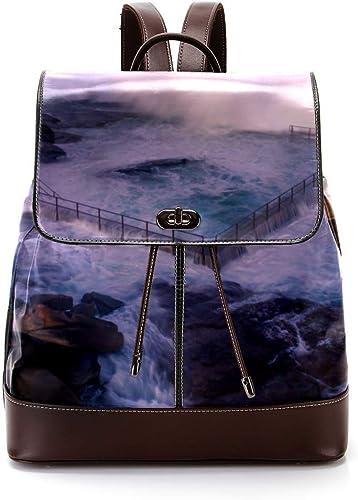 Indimization Australia Bay Beach Casual Daypack Leder-Rucks e, modische Reisetasche, Studentententasche, für Jungen und mädchen, für 27 x 12,3 x 32 cm