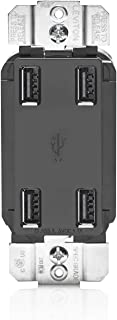Leviton USB4P-E 4.2-Amp High Speed 4-Port USB Charger, Black