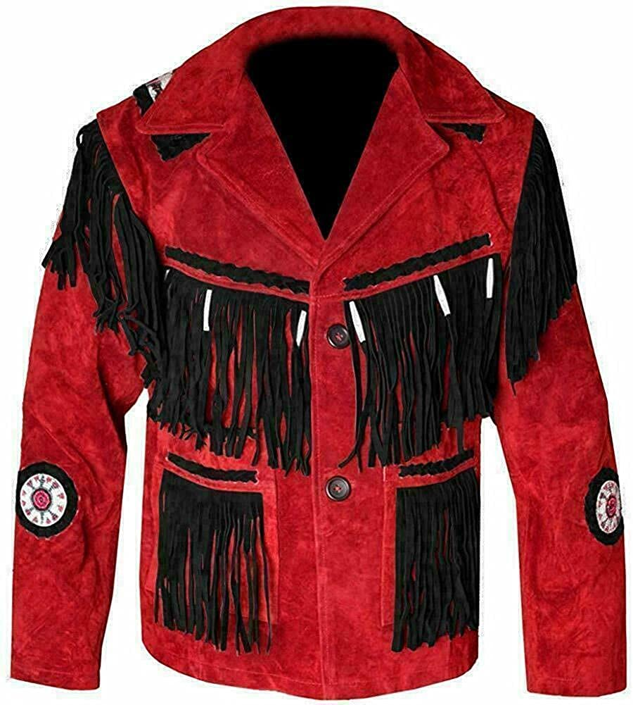 Classyak Men's Suede Leather Jackets with Fringes, Beads and Bones