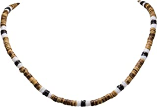 BlueRica Tiger Coconut Beads, White & Black Puka Shell Beads Necklace