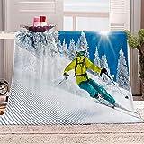 BWBJJ Manta de Franela con impresión 3D Esquiar Manta cálida súper Suave, para niños y Adultos, Juego de Ropa de Cama para Navidad y cumpleaños 130x150 cm