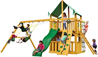 Gorilla Playsets Chateau Clubhouse Swing Set w/Natural Cedar and SunbrellaCanvas Forest Green Canopy