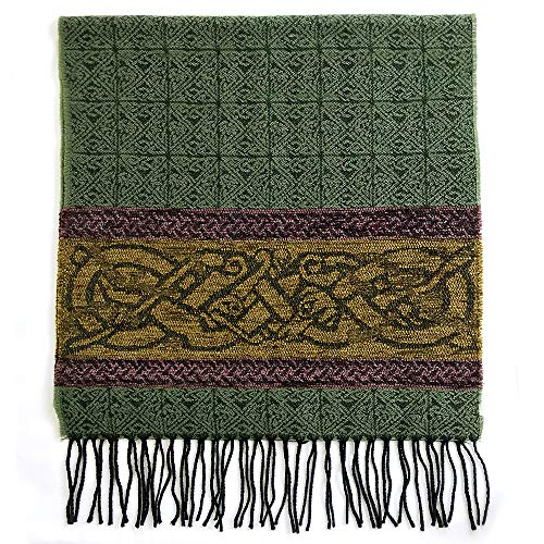 Detailed Woven Celtic Scarf made in Scotland, a collection based on traditional Celtic designs and patterns (Spruce Celtic Dog)