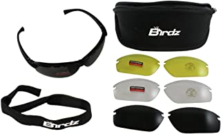 Birdz Eyewear HawkKit3 Interchangeable Glasses (Black Frame/Clear, Smoke, Polarized Smoke, Yellow Lens) - Set of 4