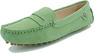 MINITOO Femme Slip on Cuir Souple Penny Loafers Mocassins Chaussures Plates YB96018