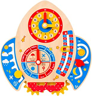 Generic Kids Learning Clock My First Daily Calendar Wooden Educational Calendar Weather Station Toddlers Preschool Learnin...