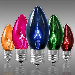 25 Pack - C9 - Transparent Multi-Color - Triple Dipped - 7 Watt - Christmas Light Replacement Bulbs - Intermediate Base - 130 Volt
