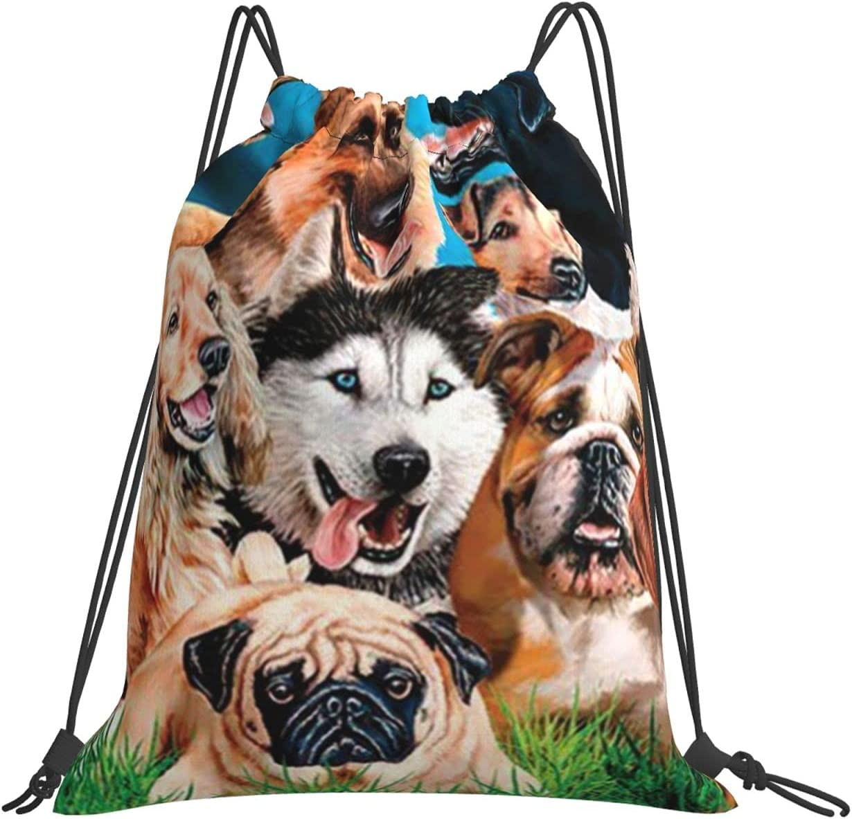 Dogs Drawstring Backpack Polyester Classic Hiking OFFicial shop It is very popular Gym Bag Tr for