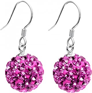 Silver dangly shamballa ball earrings with CZ crystals