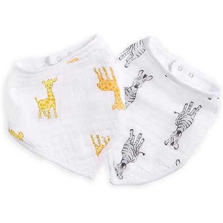 aden + anais Essentials Bandana Baby Bib, 100% Cotton Muslin, 3 Layer Burp Cloth, Super Soft & Absorbent for Infants, Newborns & Toddlers, Adjustable with Snaps, 2 Pack, Safari Babes - Giraffe/Zebra