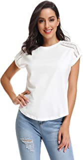 kefirlily Women's Summer Lace Short Sleeve Loose Casual Tee T-Shirt