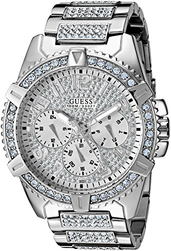 GUESS Stainless Steel Crystal Embellished Bracelet Watch with Day, Date + 24 Hour Military/Int'l Time. Color: Silver-Tone (Model: U0799G1)