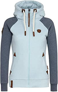 Womens High Neck Hoodies Sweatshirts Full-Zip Hooded Long Sleeve Outerwear Autumn Winter Hoody Jackets Stylish Tops with D...