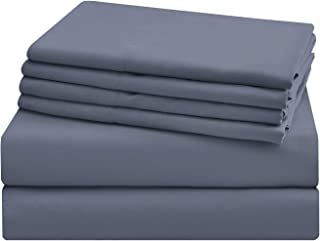 "AKK Ultra Soft Hypoallergenic Sheet Set 17"" Extra Deep Pocket, Twin Brushed Microfiber Hotel Quality Sheets 4 Piece, Dark ..."