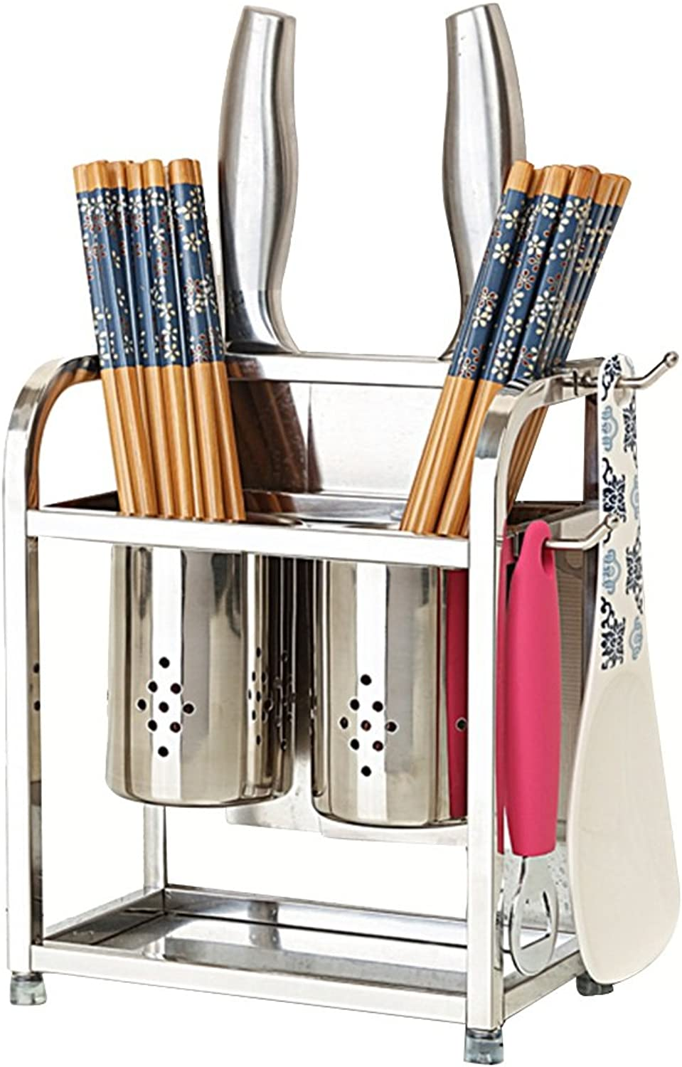 LS Shelf 304 Stainless Steel Hanging Double Chopsticks Knife Rack Kitchen Multifunction Hollow Drain Rack Size 17  10  23cm 19  12  23cm Modern Retro Style Fashion Trend Rack (color   B)