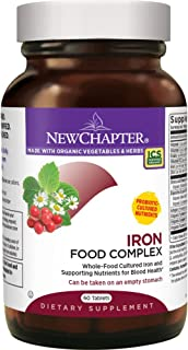 New Chapter Iron Supplement - Iron Food Complex with Organic Whole Food Ingredients + Promotes Healthy Iron Levels + Non-Constipating + Non-GMO + Gluten Free – 60ct