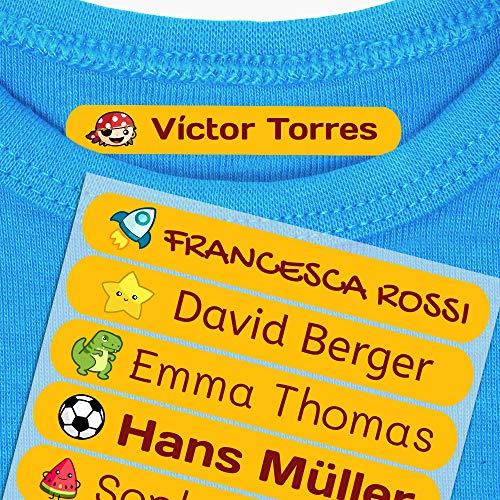 50 Etiquetas Termoadhesivas Personalizadas, de 6 x 1 cms, para marcar la ropa. Color Naranja (Para Planchar)