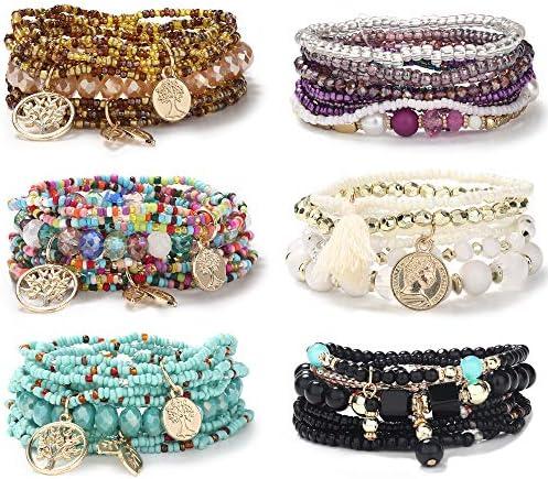 CASSIECA 6 Sets Bohemian Stackable Bracelets for Women Multilayered Stretch Bead Bracelet Set product image