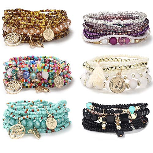CASSIECA 6 Sets Bohemian Stackable Bracelets for Women Multilayered Stretch Bead Bracelet Set Boho Bangles Multicolor Fashion Jewelry