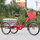 OHHG Triciclo Adultos Triciclos Adultos Bicicletas 3 Ruedas 20 Pulgadas Marco Acero al Carbono Paso bajo Triciclo Canasta Adultos Mujeres Hombres Personas Mayores