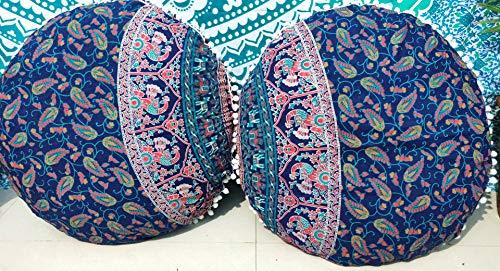 Funda de cojín de cojín de 61 cm, diseño de mandala Barmeri, diseño otomano, para asiento de meditación, estilo hippie, decorativo con cremallera, bohemio, puf otomano, fundas de almohada con pompón