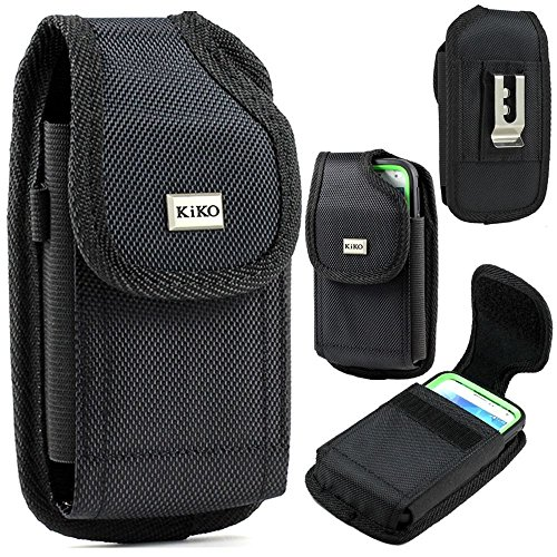 XXL Size Samsung Galaxy S6, S6 Edge, S5, HTC ONE M9,M8S, M8 Premium Vertical Nylon Belt Clip Holster Pouch Case Cover (Fits Phone with Otter Box Defender/LIFEPROOF/Extended Battery or Thick Case
