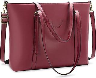 NUBILY Handtasche Shopper Damen Groß 15.6 Zoll PU Leder Shopper Rotwein Laptop Umhängetasche Gross Business Aktentasche Fr...