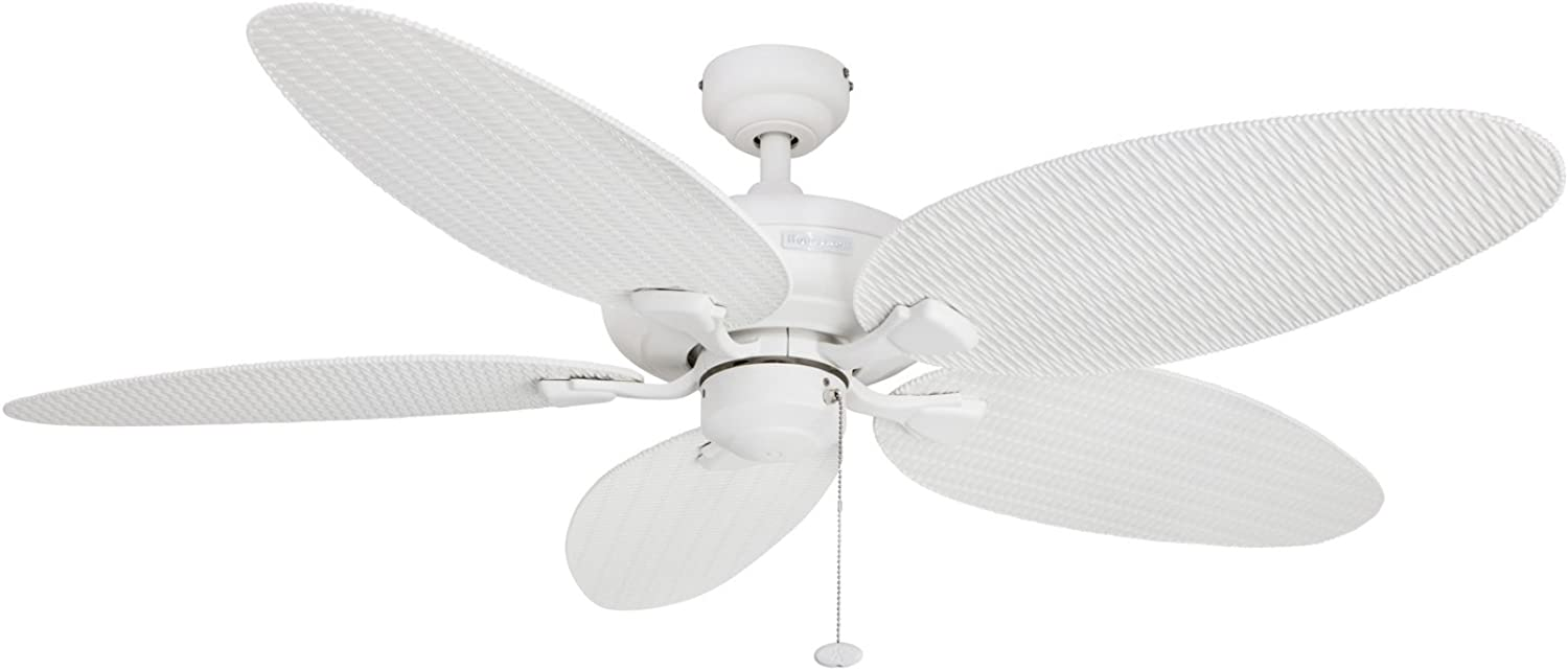 Honeywell Duvall 52-Inch Tropical Ceiling Fan, Five Wet Rated Wicker Blades, Indoor Outdoor, White