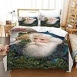Funda nórdica de Impresa en 3D Funda Nórdica Funda de Almohada Barba de Navidad Double(200X200 Cm), 3 Piece Set 1 Piece Quilt Cover + 2 Piece Matching Pillowcase