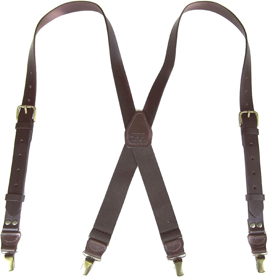 SUS-152-BSBR -Genuine Leather Suspender for Men Made in USA X-Back Genuine Leather clip end tuxedo Leather suspenders