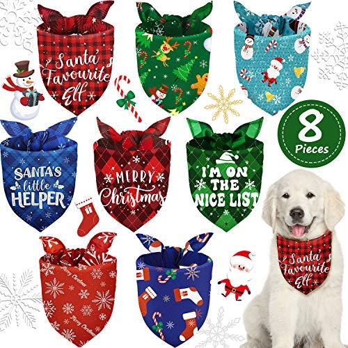 8 Pieces Christmas Dog Bandanas Pet Bandanas Snowman Snowflake Pet Kerchief Triangle Dog Scarf Adjustable Washable Dog Bib for Christmas Pets Dogs Cats Costume Supply