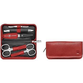 Zwilling - Set de manicura en estuche con cierre de cremallera, 5 piezas, color rojo: Amazon.es: Hogar