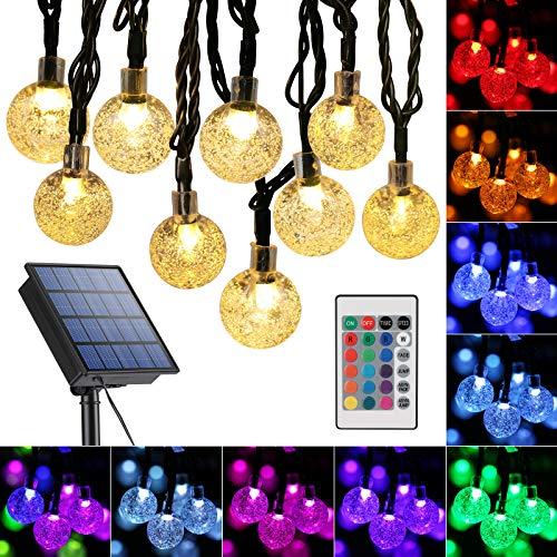 Qedertek Solar Lichterkette Aussen, 16 Colors 60 LED Solarlichterkette für außen mit Kristall Kugeln, Wasserdicht Lichterkette außen Solar für Garten, Bäume, Terrasse, Partys, Sommer Deko (RGB)