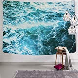 Sunm boutique Wall Tapestry Blue Ocean Wave Tapestry Sea Wall Hanging Tapestry Wall