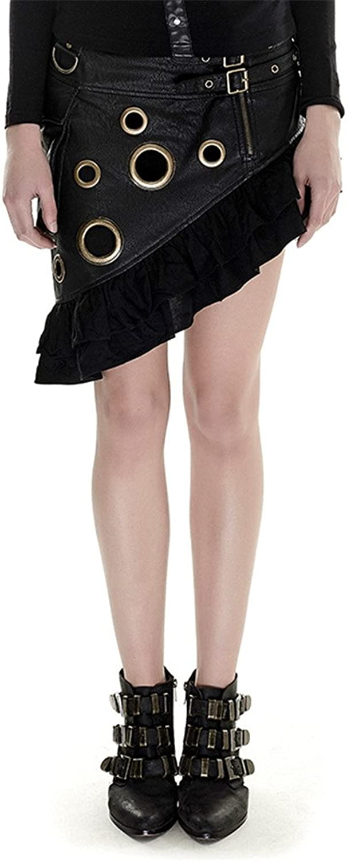 Punk Women Asymmetric Mini Flounces Leather Skirt (M, Black)