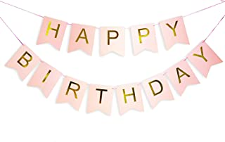 Pink Happy Birthday Banner with Shimmering Gold Letters, Happy Birthday Bunting Banner for Party Decorations, Swallowtail Flag Happy Birthday Sign, gold happy birthday banner for Kids Girls Birthday