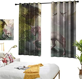 """RuppertTextile Customized Curtains Unicorn Gold Color Leaves Birds Twinkling Stars Moon Mystic Fantasy Fairytale 72"""" Wx45 L, Noise Reducing"""