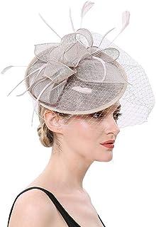 Women Fascinators Hat Flower Feather Net Mesh Tea Headdress,Headwear with Hair Clip Hairband for Derby Kentucky Wedding,Gray