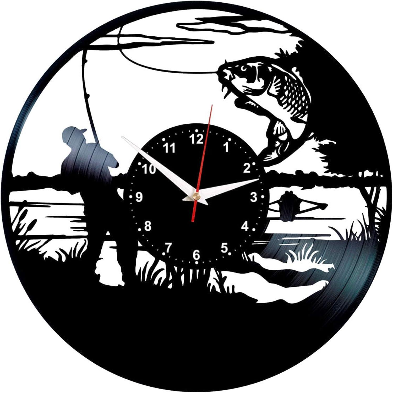 Queen Clocks Bass Fishing Clock - Vinyl Record Art - Fish Wall Decor - Fly Fisherman Gifts