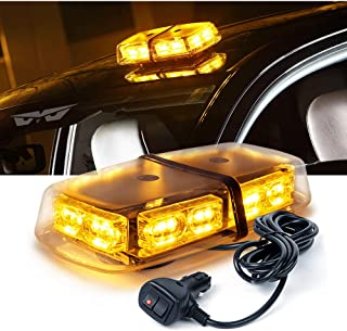 Lumenix Amber Yellow Led Rooftop Strobe Light 36 Led Flashing Beacon Lights Emergency Warning Law Enforcement Light Bar with Strong Magnetic Base for Truck Construction Vehicles Snow Plow Cars