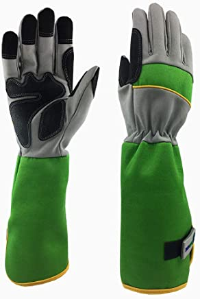 GREENLINE - Long Micro Fiber Synthetic Leather Rose Garden Gloves Gardening Gloves Working Gloves (Lime/Light Grey) M Size