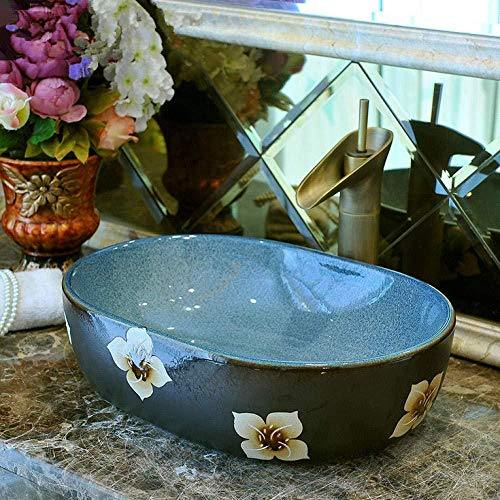 Wieoc Waschtischkonsole Ovales Porzellan-Badezimmer-Keramik-Gegenoberseiten-Wannen-rechteckiges Waschbecken populär in Europa-Kunst-Bassin-Badezimmer-Wanne